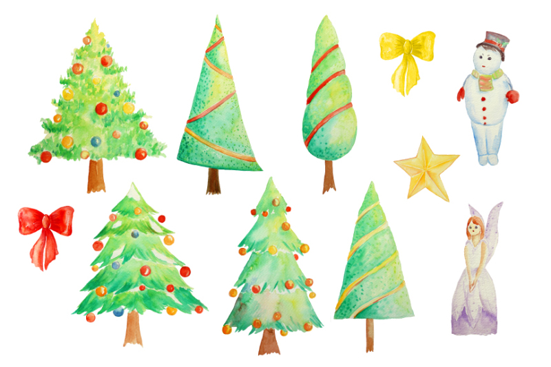watercolor-christmas-trees