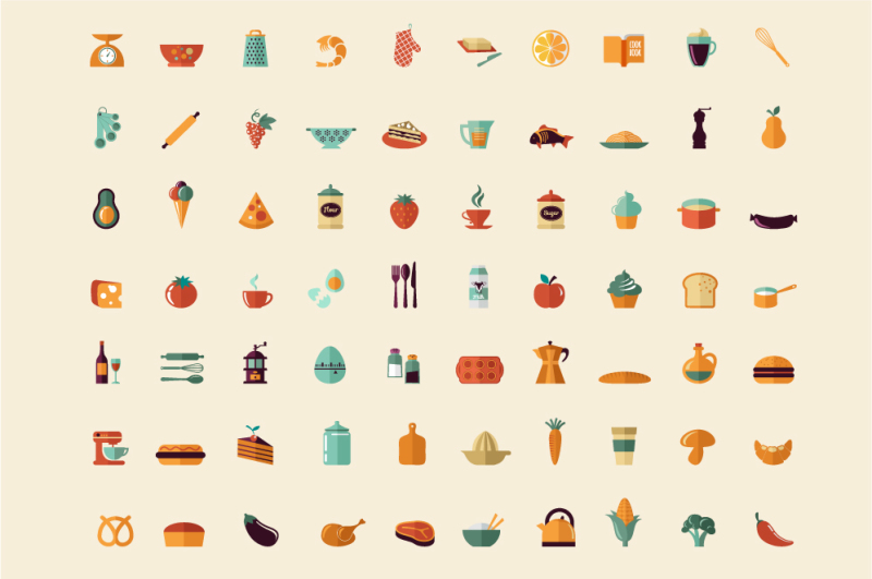 cooking-and-backing-70-flat-icons