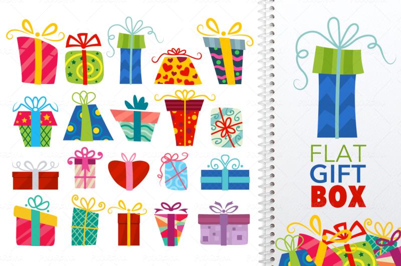 flat-vector-gift-box-icon-set