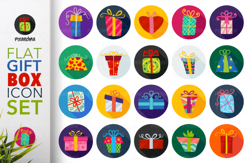 flat-gift-box-icon-set