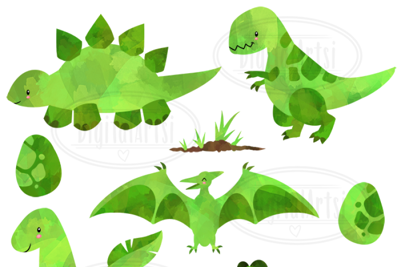 watercolor-green-dinosaurs-clipart