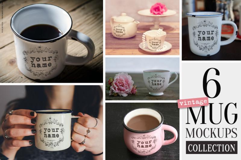Free 6 Vintage Mug Mockups Collection (PSD Mockups)