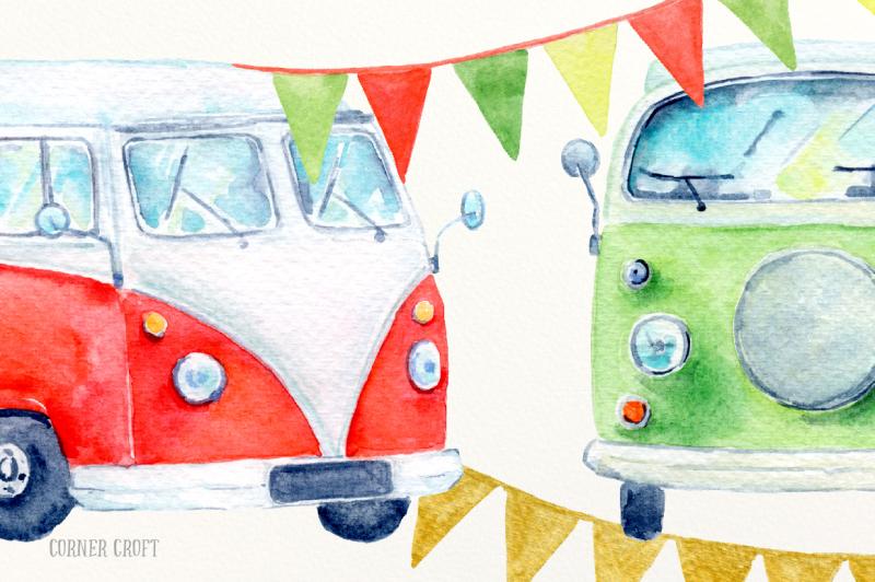 watercolor-christmas-campervan