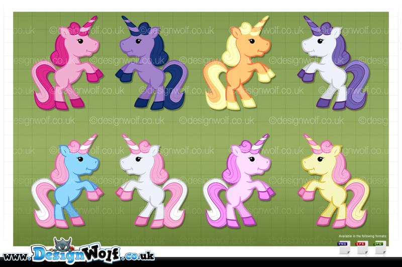 8-colourful-kawaii-style-unicorns-rearing-up