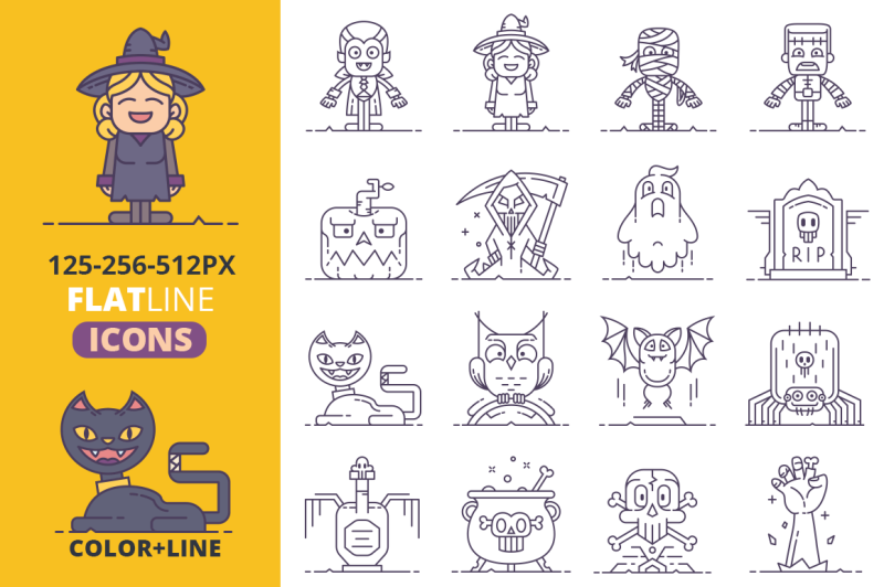 halloween-flat-line-icons-vol-2