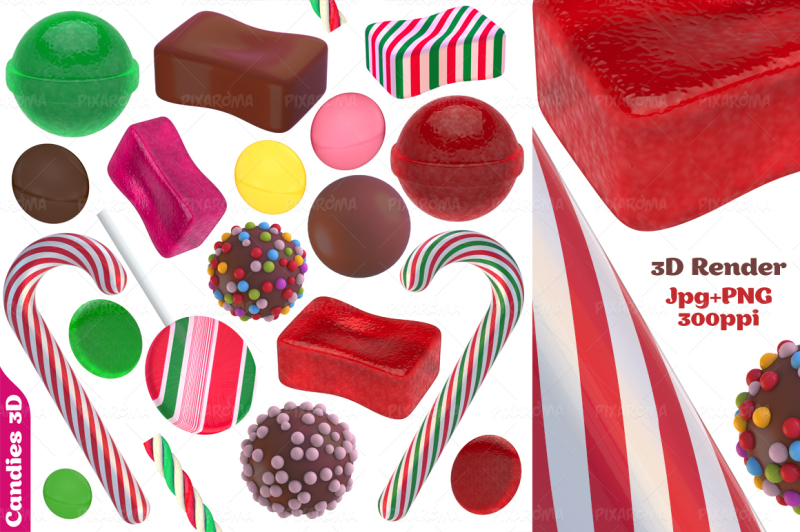 candies-and-sweets-3d-set
