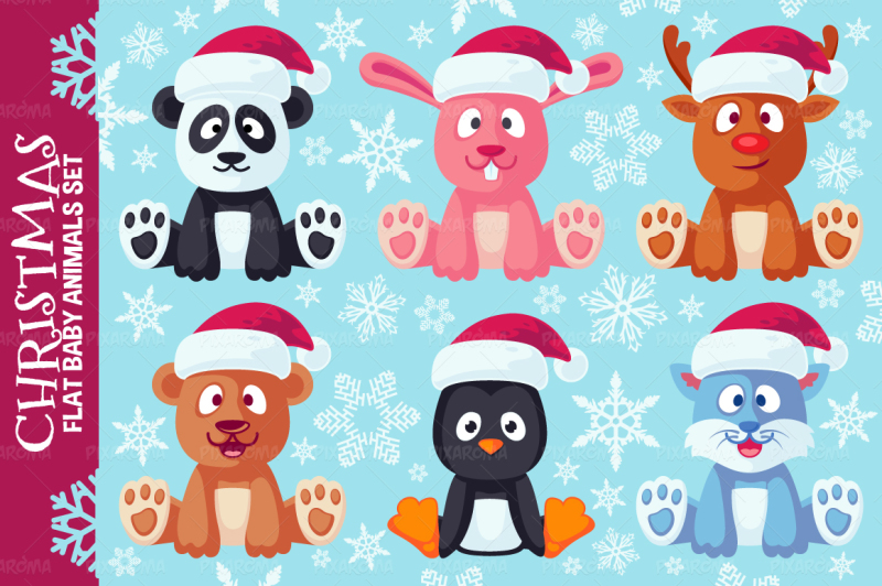 christmas-cute-flat-animals-set