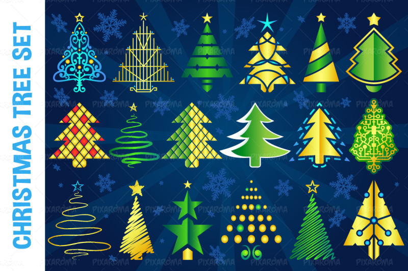 christmas-vector-tree-set