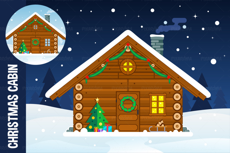 flat-christmas-cabin-illustration