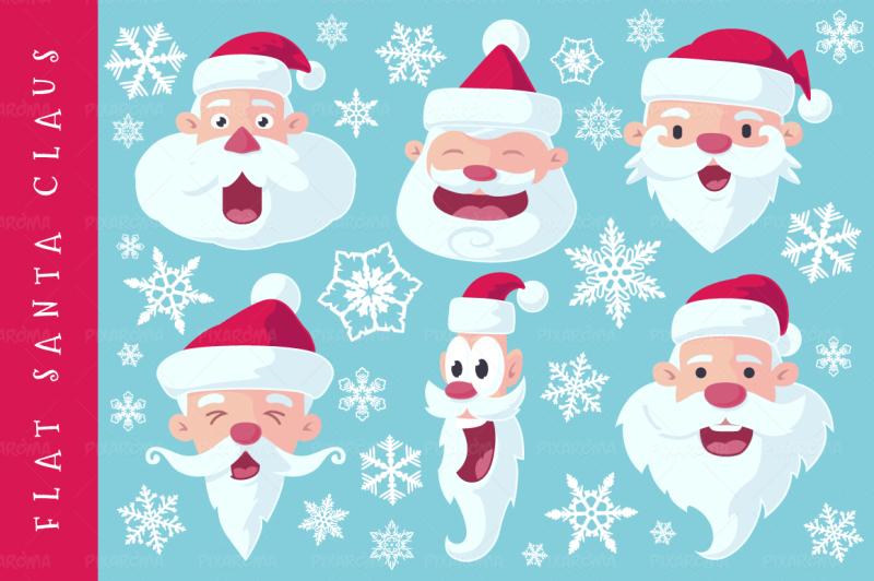 flat-santa-claus-heads