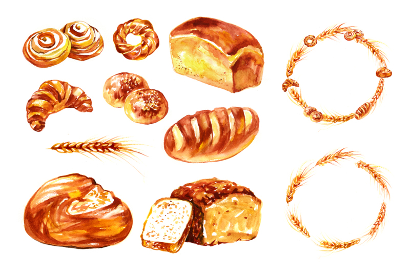 watercolor-bread-and-sweet-rolls