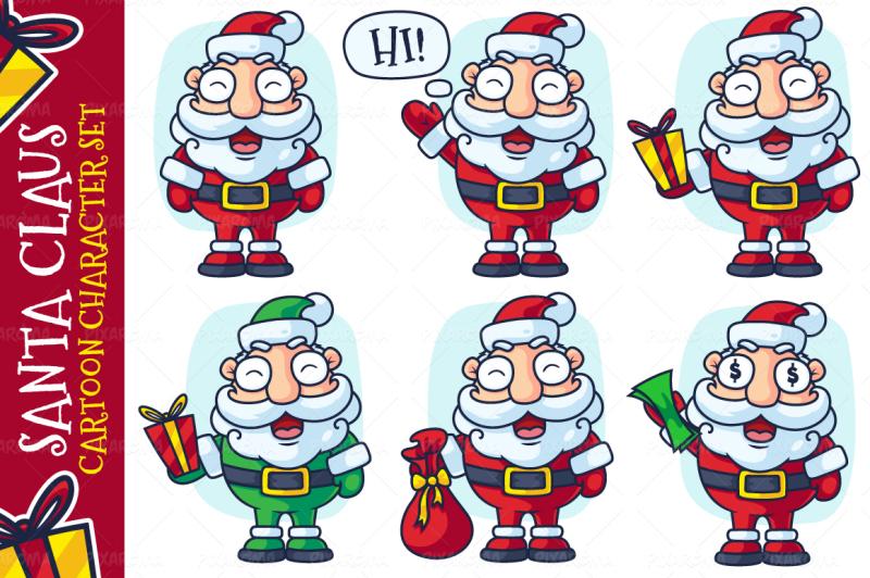 santa-claus-cartoon-character-set