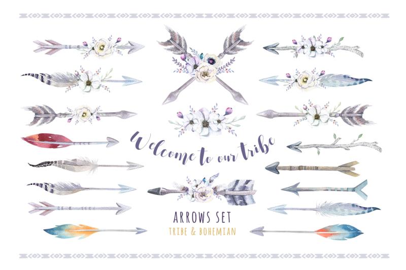 tribe-watercolor-boho-arrows-ii