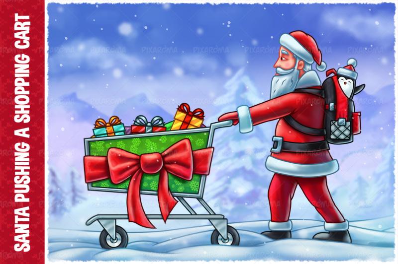 santa-claus-pushing-a-shopping-cart