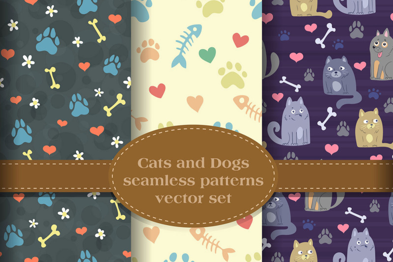 cats-n-dogs-patterns-set