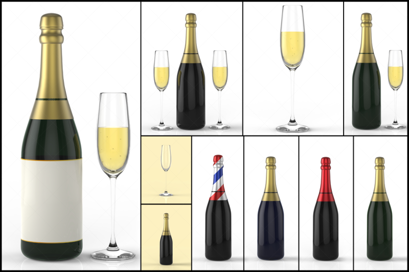 champagne-bottle-and-glass-3d