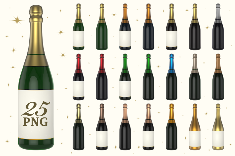 champagne-bottle-3d-set