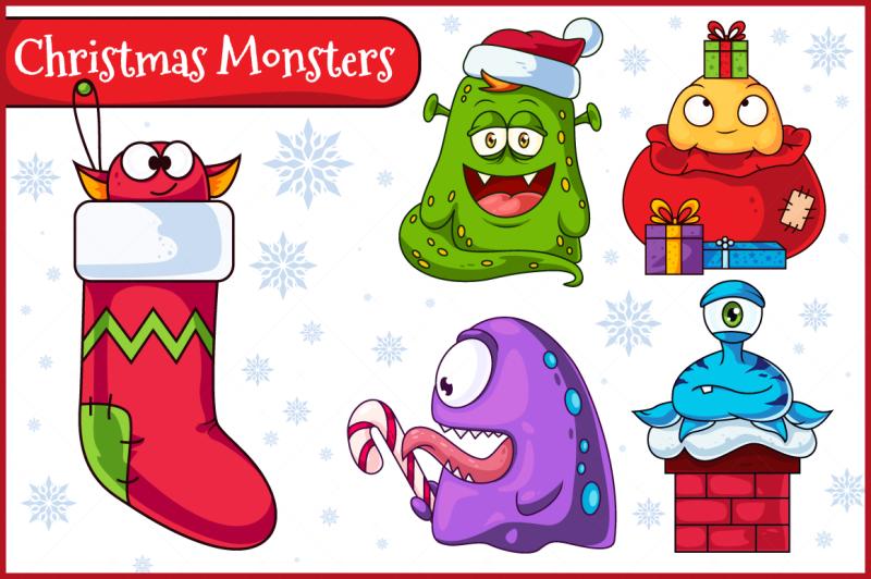 christmas-vector-monsters-set-1