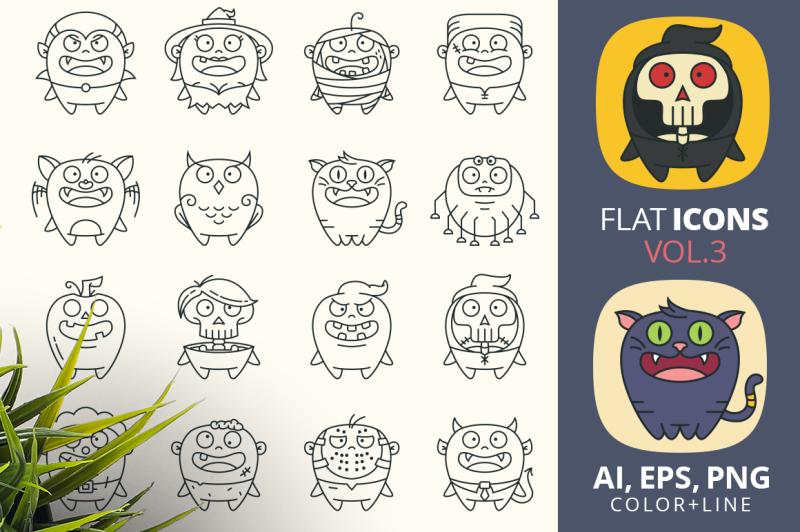 cute-flat-halloween-characters-vol-3
