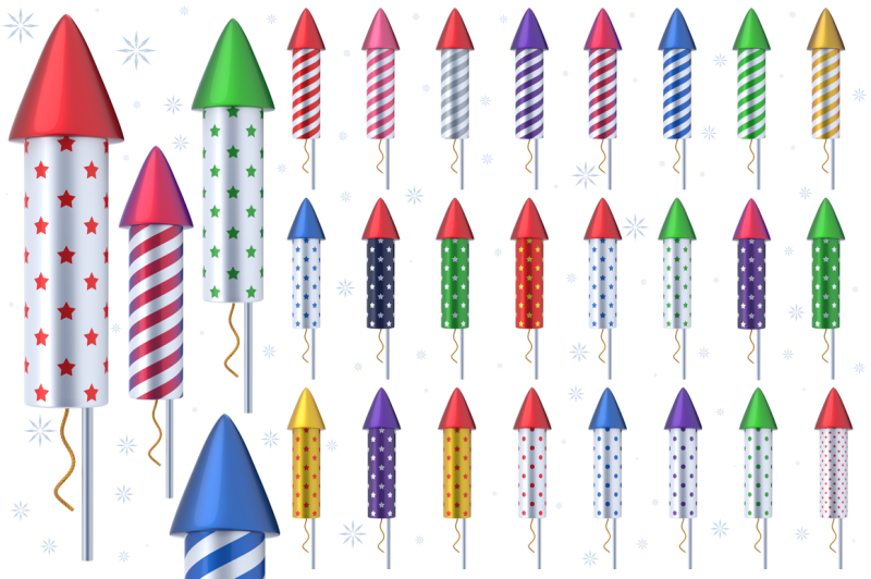 fireworks-rockets-3d-set