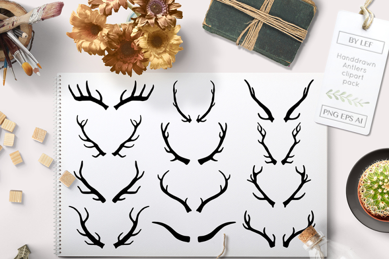 vector-antlers-and-antler-photoshop-brushes