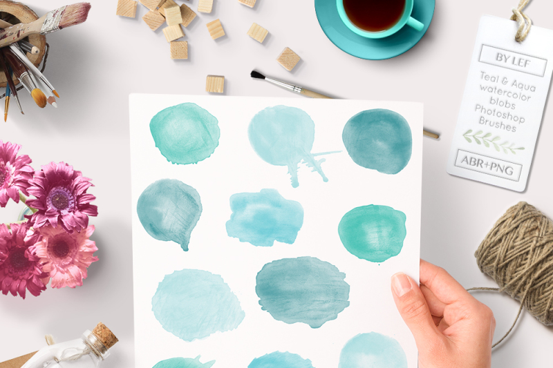 watercolor-photoshop-brushes-blobs-including-44-bonus-png-files-in-teal-and-aqua-color-to-make-your-own-clip-art-graphics