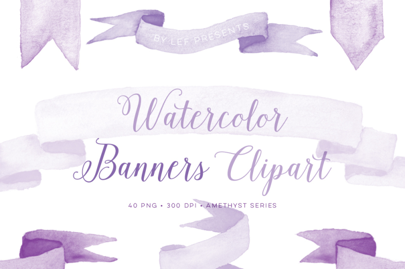 Amethyst Watercolor Banner Clipart. Purple Ribbon Graphics ...