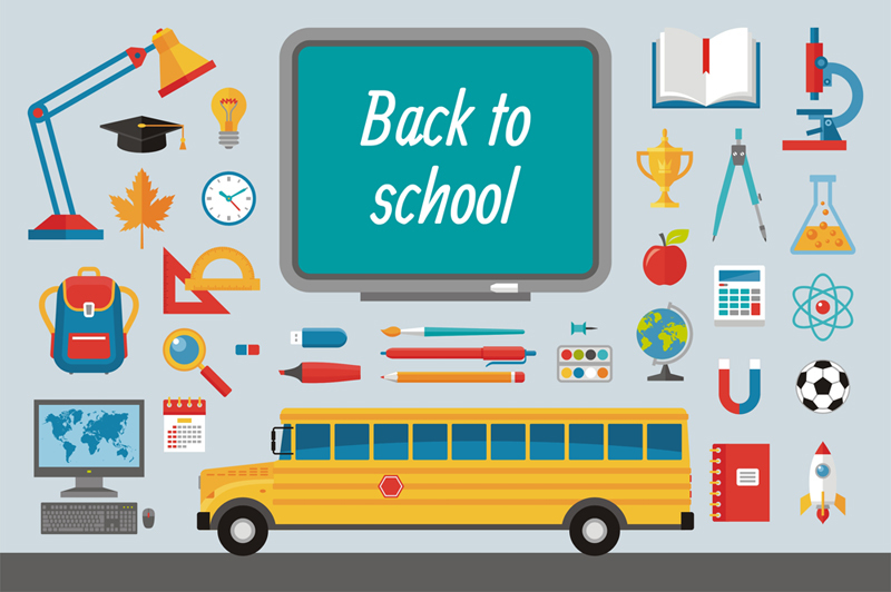 back-to-school-flat-icons-set