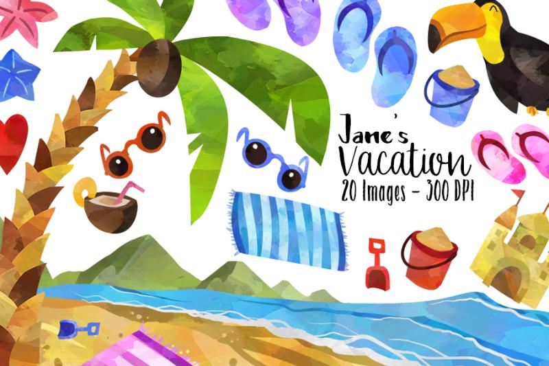 Summer Beach Vacation Clipart By Digitalartsi ...