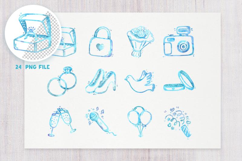 wedding-icons-watercolor-set