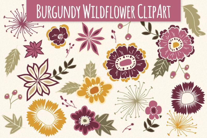 wildflower-clip-art-in-burgundy