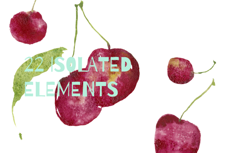 delicious-cherry-set-in-trendy-watercolor-style