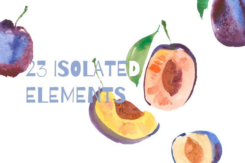 delicious-plums-set-in-trendy-watercolor-style