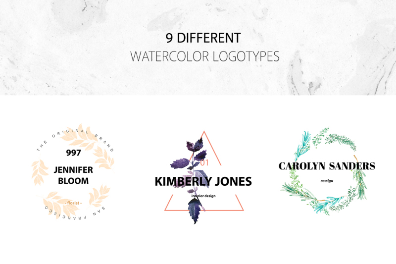 watercolor-wreath-logo-set