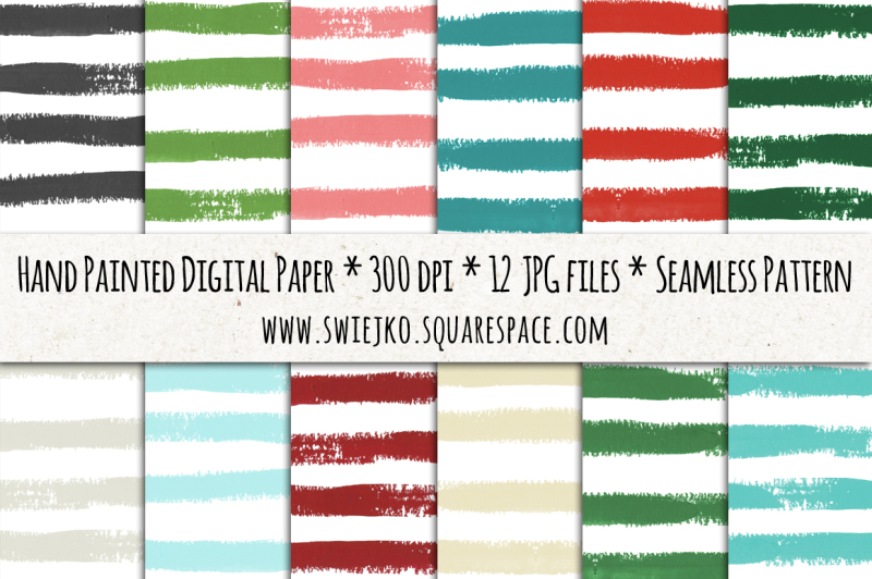 stripes-digital-paper-christmas-background-watercolor-brush-texture