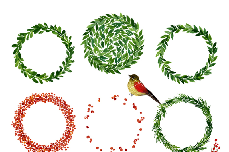 christmas-watercolor-clipart-holiday-wreath-mistletoe