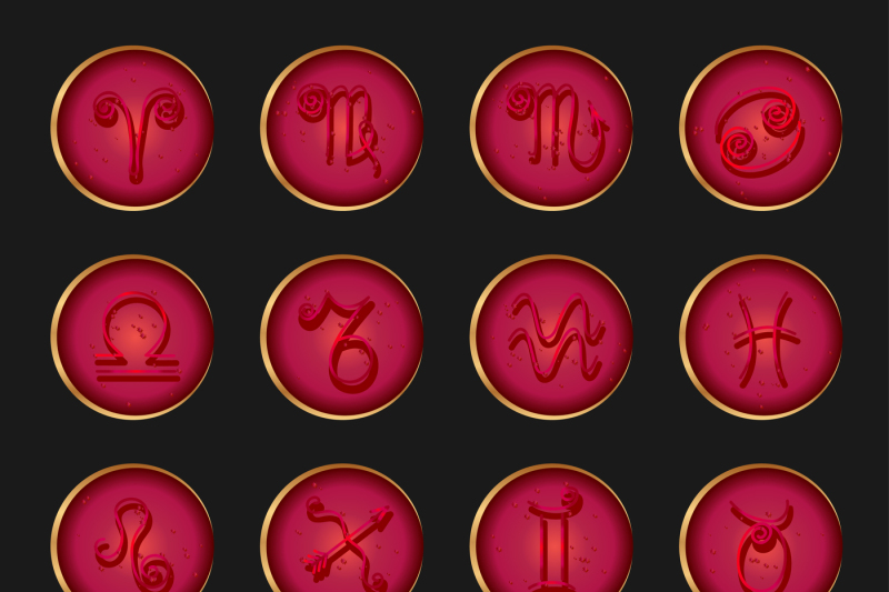 zodiac-signs-icons-set-vector-icons-imitation-convex-glass-and-gold-edging-300-dpi-in-jpeg-and-eps-10-can-be-used-in-all-sizes-for-print-and-web-sites