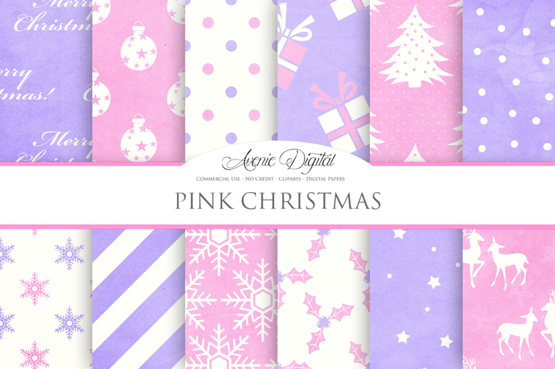 pink-christmas-digital-papers