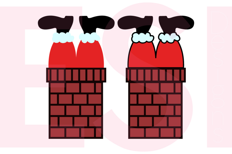 santa-stuck-in-the-chimney-2-styles-svg-dxf-eps-and-png-cutting-files