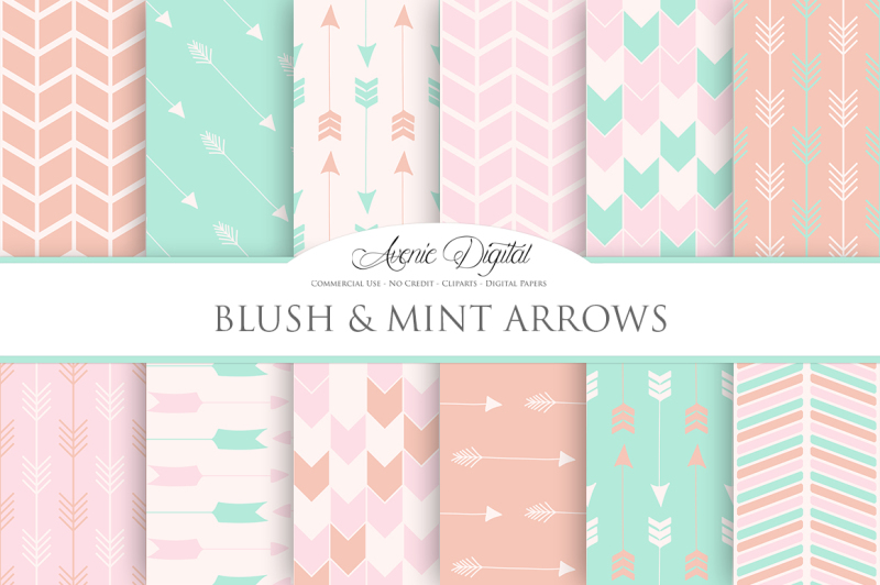 blush-and-mint-arrow-digital-papers
