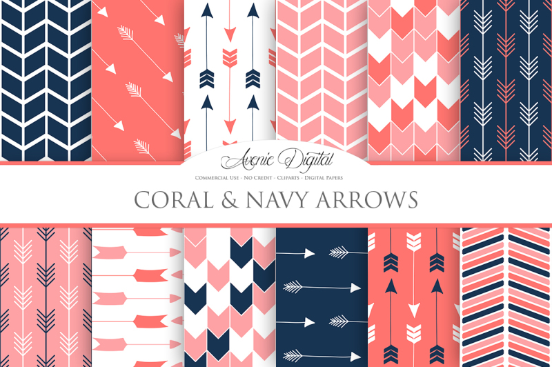coral-and-navy-arrow-digital-paper