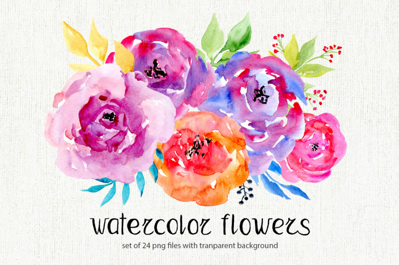 watercolor-flowers-leaves-clipart
