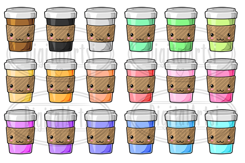 Kawaii Coffee Clipart By Digitalartsi | TheHungryJPEG.com