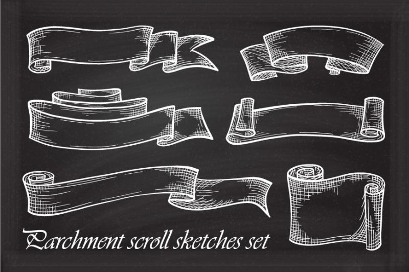 parchment-scroll-sketches-set