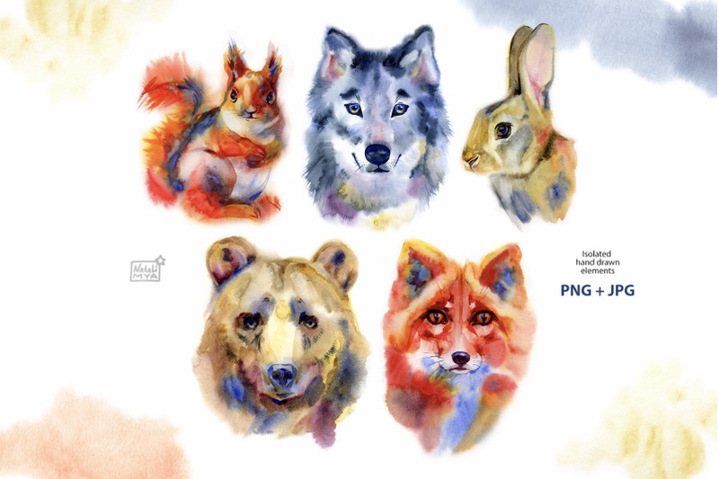 watercolor-wild-animals-set