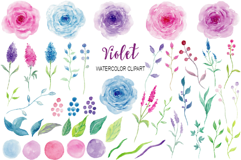 watercolor-clipart-violet-collection