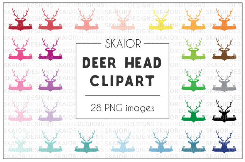 rainbow-deer-head-banner-clipart