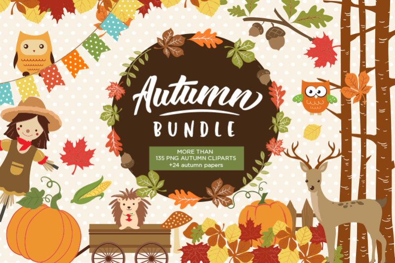 Autumn Clipart Bundle - 138 cliparts By BlackCatsSVG ...