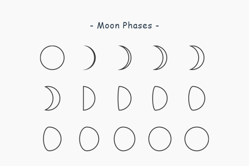 flat-moon-phases-clip-art-set