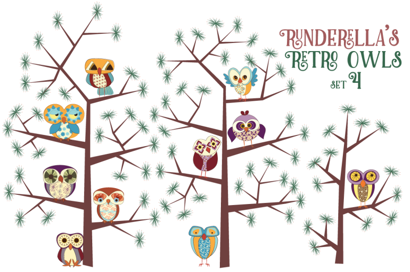 runderella-s-retro-owls-set-4-png-files